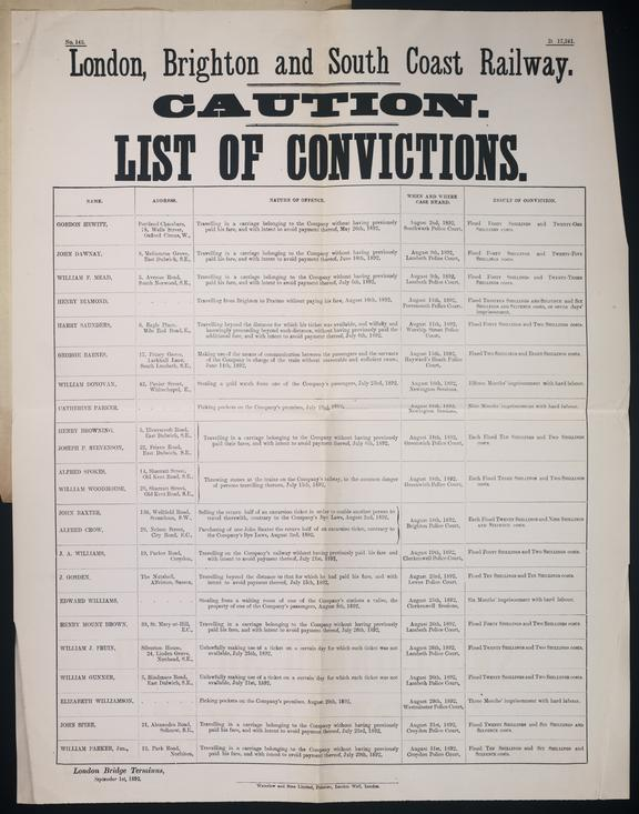 London, Brighton and South Coast Railway, Criminal Notice, 1892