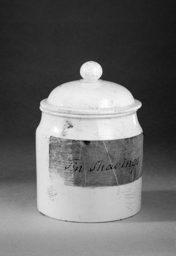 Jar 'Tin Shavings. Part of Upwards of 6,600 objects, as detailed in the inventory hereto annexed, being contents of the