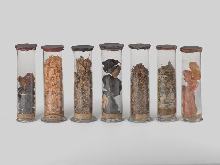 From left to right:              Glass jar, contains australian gum possibly from Australia (?), 1842              Glass jar, contains gum