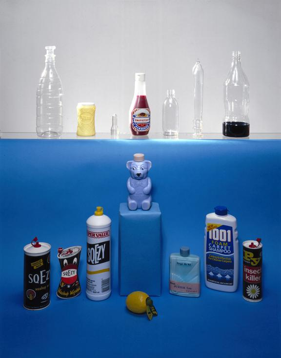 """Selection of plastic bottles including:-       Two PVC bottles, one opaque """"1001 foam carpet shampoo"""", the other transparent"""