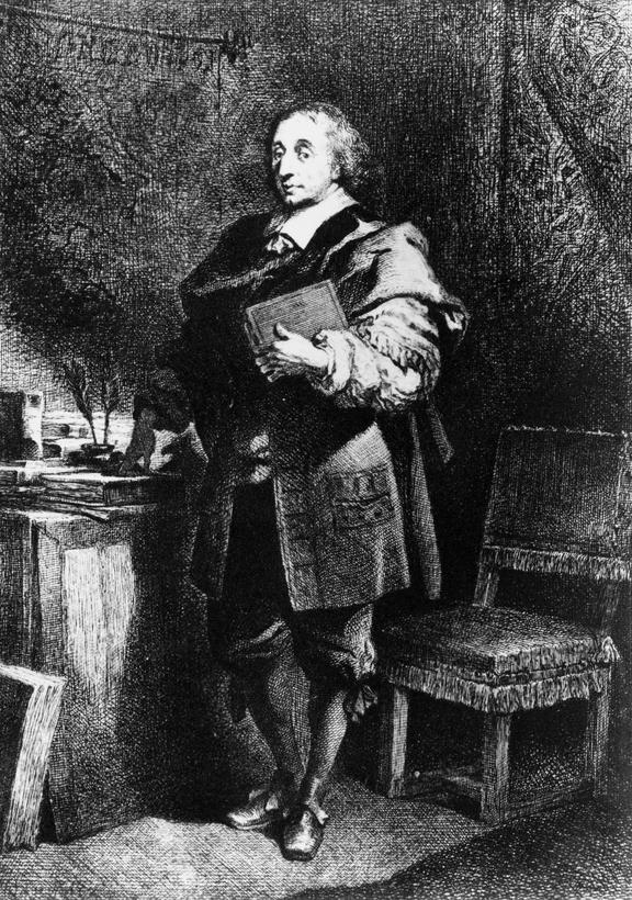 Photograph  of engraved portrait of Blaise Pascal. Black and white copy photograph, taken in 1926, from the Science