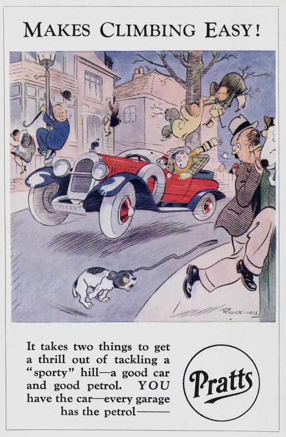 Postcard: 'Makes Climbing Easy!' / cartoon by Ridgewell, c.1920 one of seven postcards advertising Pratts petrol