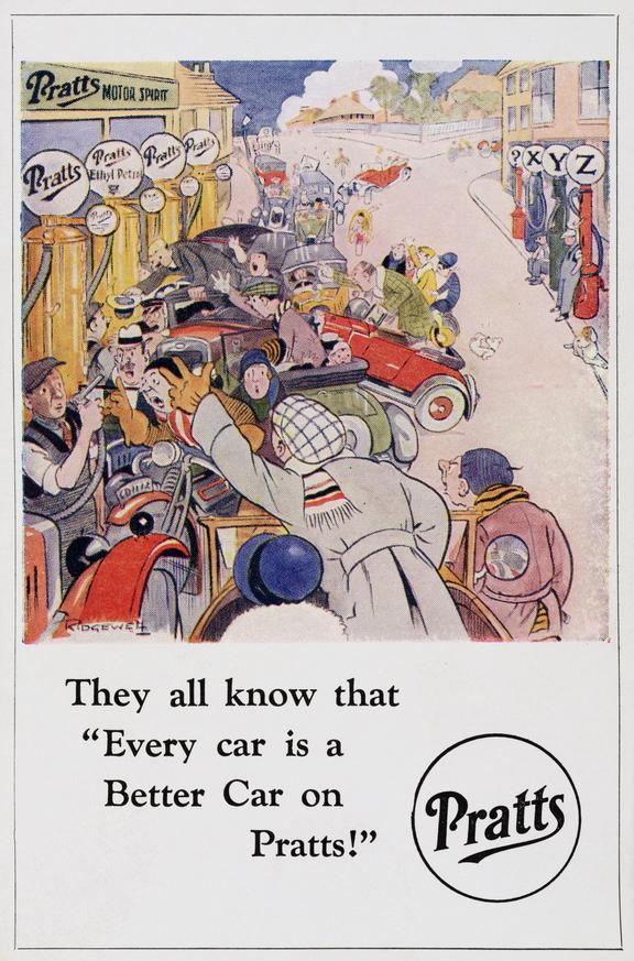 """Postcard: 'They all know that """"Every Car is a Better Car on Pratts!' / cartoon by Ridgewell, c.1920 one of seven"""