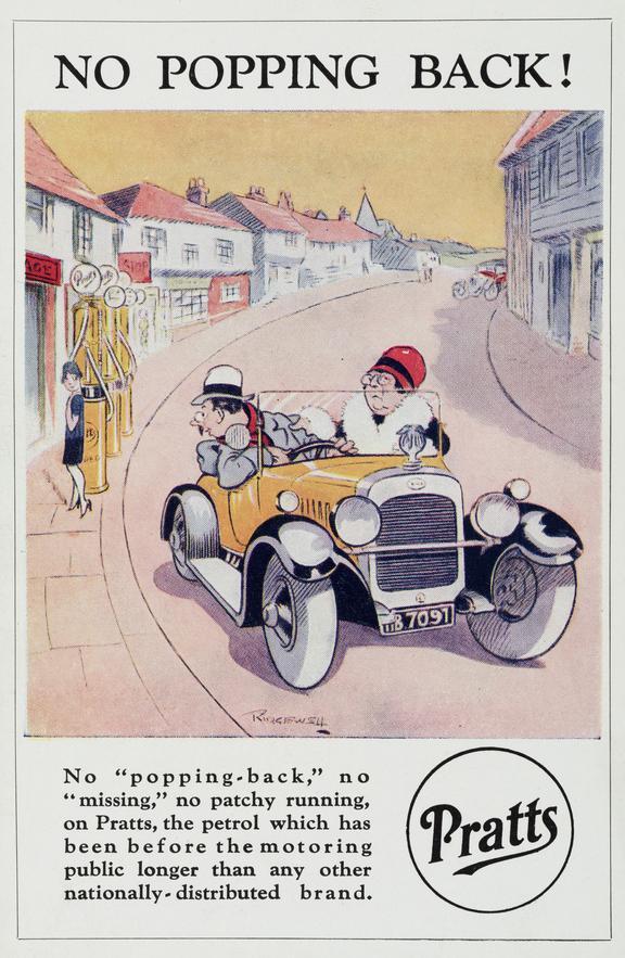Postcard: 'No Popping Back!'cartoon by Ridgewell, c.1920 one of seven, advertising Pratts petrol