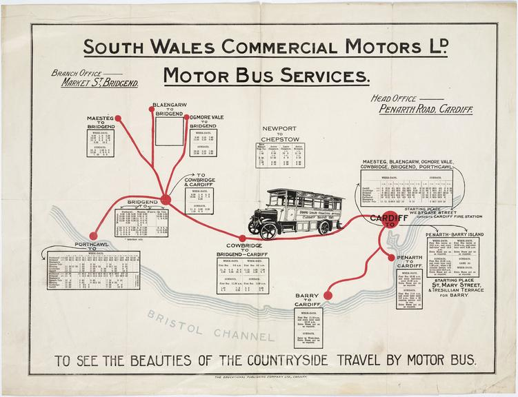 Poster: South Wales Commercial Motors Ltd. Route map and timetable, c. 1925