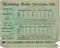 One of Five handbills. Worthing Motor Services Ltd. Timetable, Brighton-Worthing. Reverse
