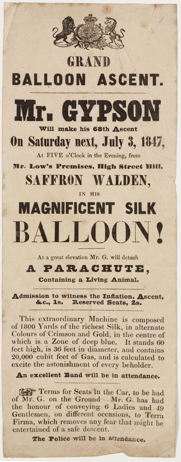 handbill, letterpress: balloon ascent by Richard Gypson, Saffron Walden [1841-1847]