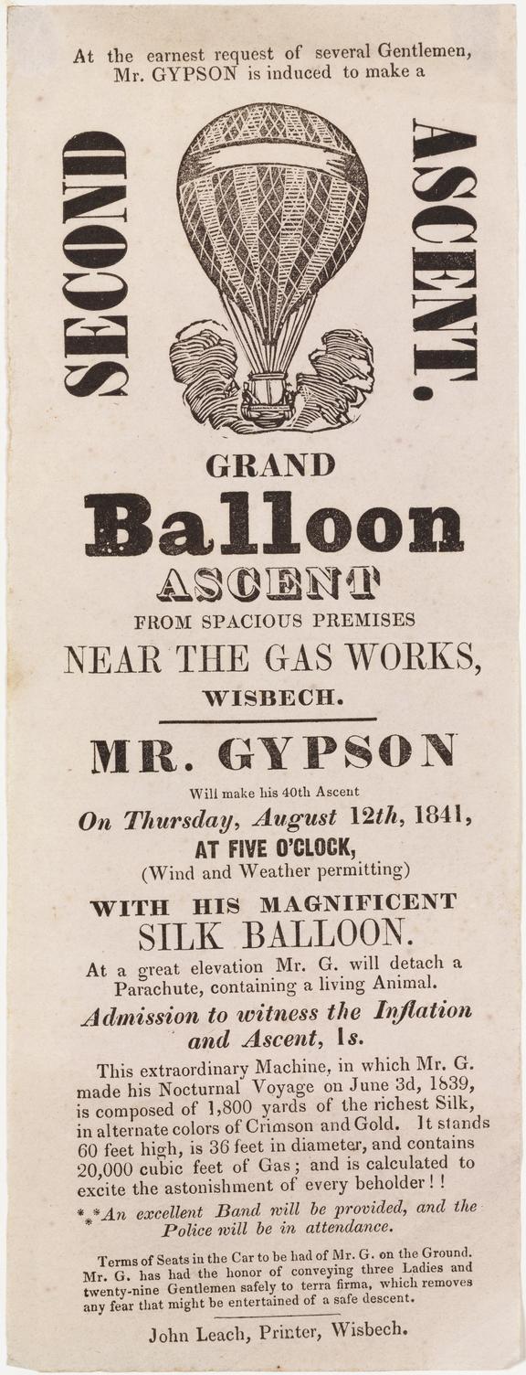 handbill, letterpress: balloon ascent by Richard Gypson, Wisbech. [1841-1847]