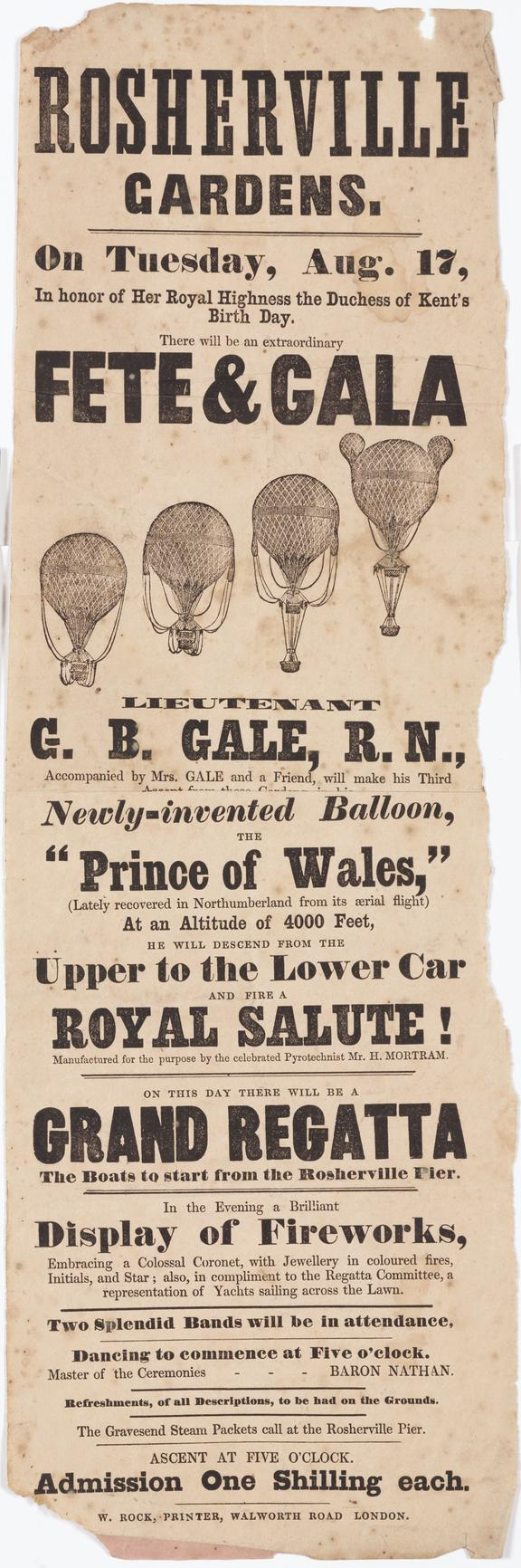 Handbill for a balloon ascent by Lieutenant GB Gale RN on Tuesday August 17th 1847