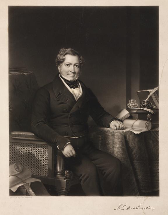 Portrait: Engraving: John Heathcoat (1790-1840) drawn by William Beetham, engraved by Thomas Lewis Atkinson 184?.