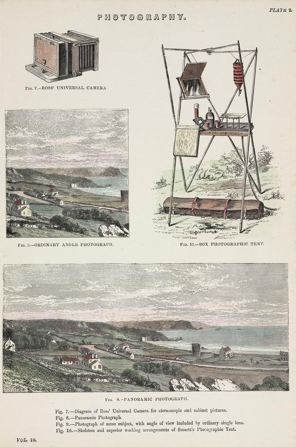 One of Colour print of photographic equipment and views, 2 copies. One of Collection of prints on photographic
