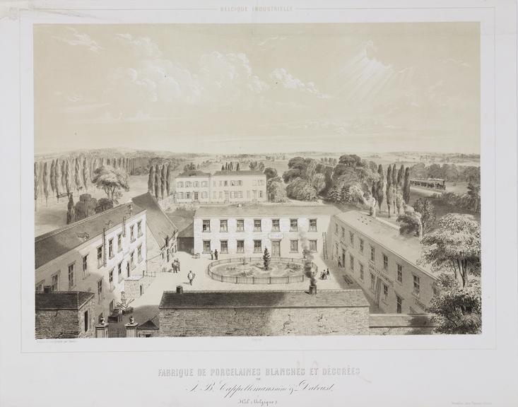 'Fabrique de porcelaines blanches et decorees' / [J B Cappellemans factory in Belgium] print. lithograph, tinted.