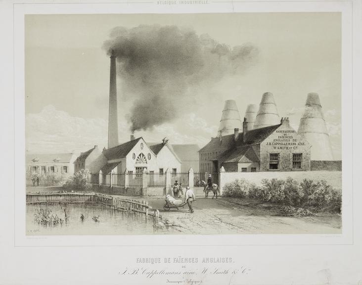 'Fabrique de faiences anglaises' / [J B Cappellemans aine, and W Smith & Co's factory in Belgium] Print. lithograph,