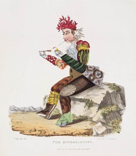 THE MINERALOGIST. Print.  Personifications, scenes showing people [men, women] constructed of artefacts embodying their