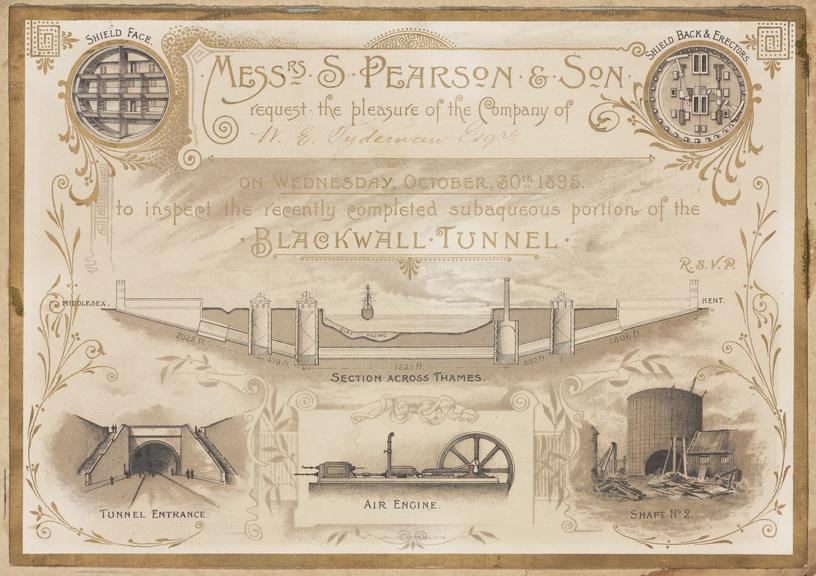 Photographed gilt invitation: S Pearson & Son to inspect the recently completed subaqueous portion of Blackwall Tunnel,