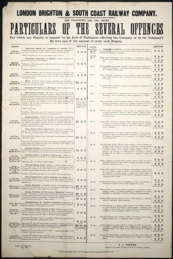 London Brighton and South Coast Railway Company. Particulars of the Several offences document.