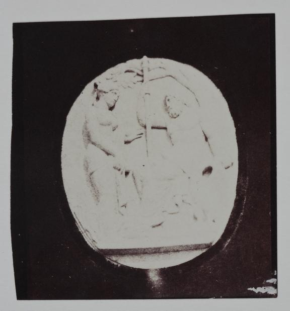 Bas relief, Adam and Eve. Positive salt print, from a calotype negative, hypo fixed, possibly by Talbot, William Henry