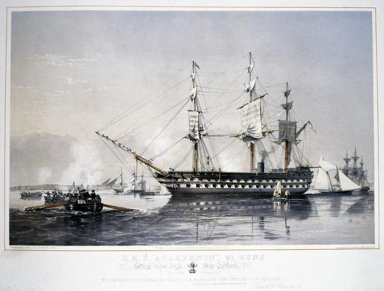 """Print: HMS """"Agamemnon"""", 91 guns, Getting under weigh From Spithead. Sail with Steam up. / O.W. Brierly, Del.; T.G."""