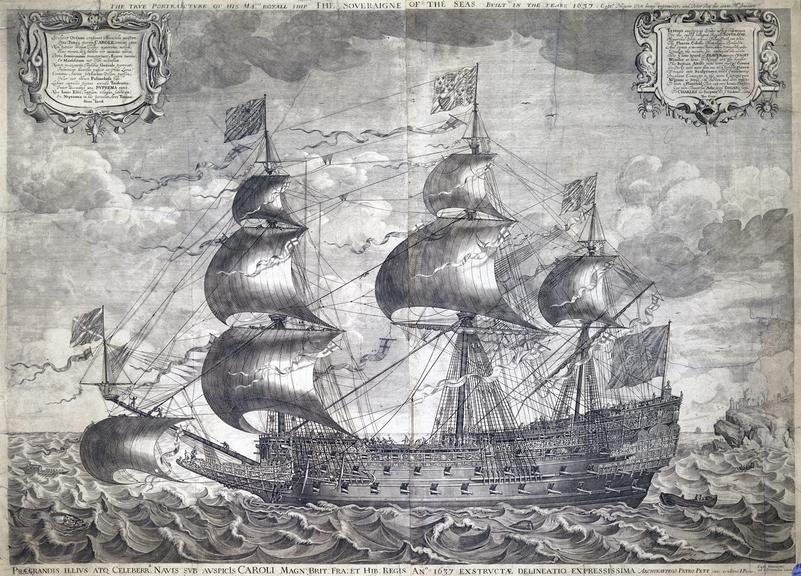 """'Sovereign of the Seas'. Copper plate engraving 36 1/2""""x5 3/4"""" by J. Payne of the 'Sovereign of the Seas', built 1637"""