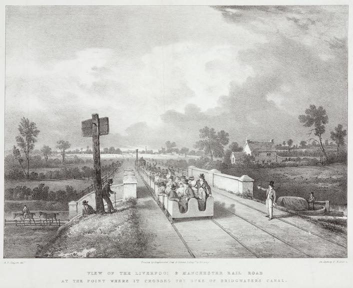 One of three lithographs 'View on the Liverpool & Manchester Rail Road at the Point where it Crosses the Duke of