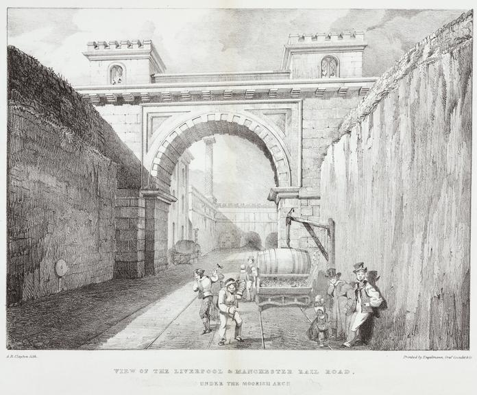 One of three lithographs 'View on the Liverpool & Manchester Rail Road. Under The Moorish Arch'. / by A.B. Clayton,