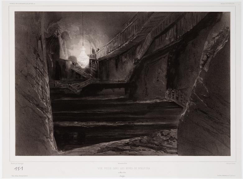 Print: Vue Prise Dans les Mines de Wieliczka. 20 Mars 1840 (Pologne). / Dessine par Lauvergne. ; Lith par Sabatier. ;