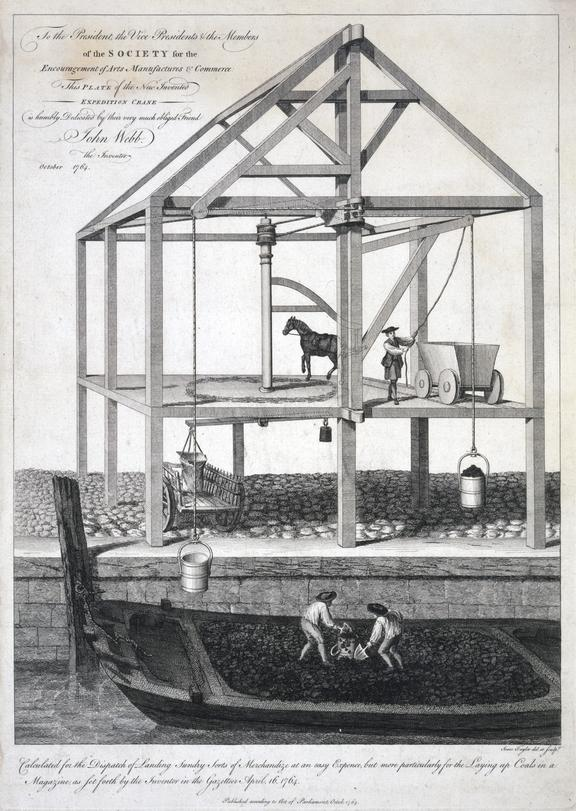 ... the New Invented Expedition Crane..., John Webb the Inventor. [dedicated to the Royal Society of Arts].  Isaac