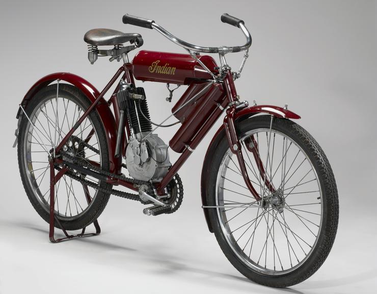 'Indian' motor cycle, 1905, engineered by Oscar Hedstrom, entrepreneur and George N Hendee.
