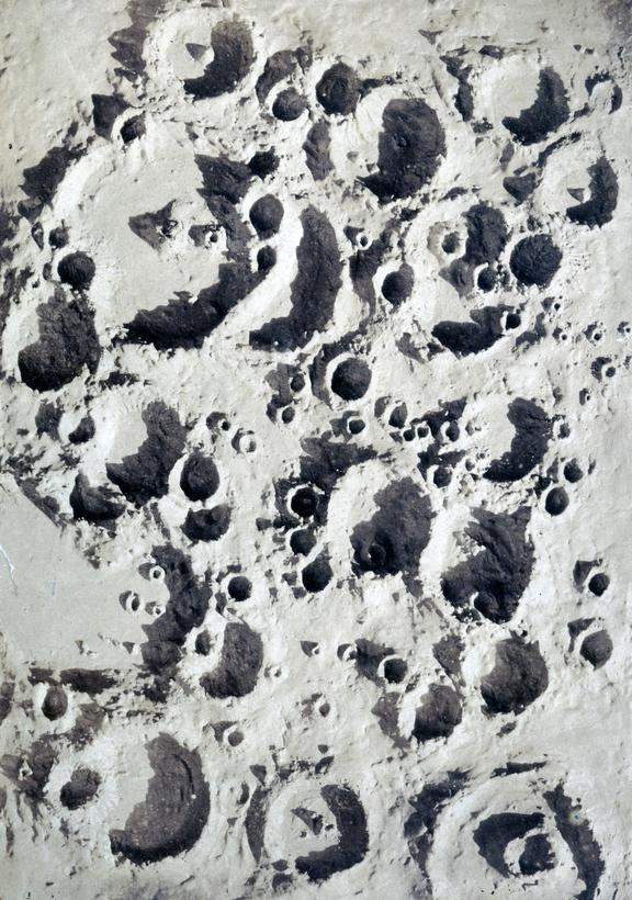 One of 15 assorted photographs of Nasmyth's crater models illuminated at a low angle showing the region of Lunar