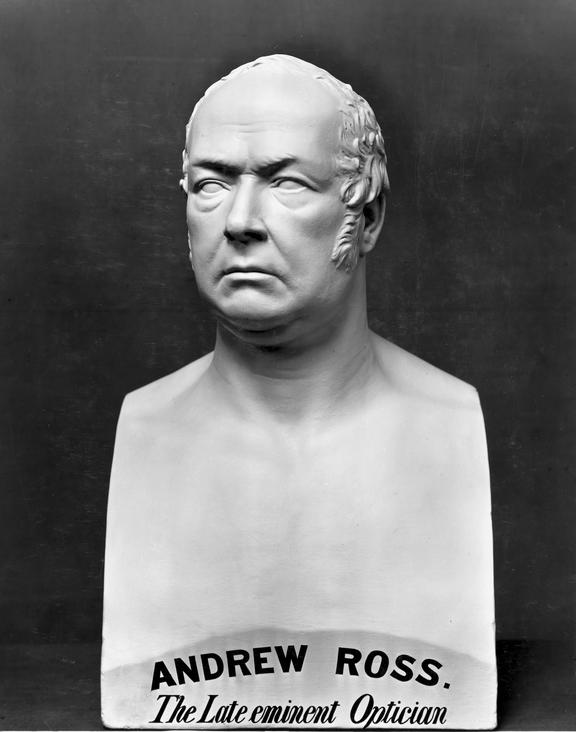Plaster bust of Andrew Ross by D Brucciani, 1859. Black and white photograph, taken in 1919, from the Science Museum