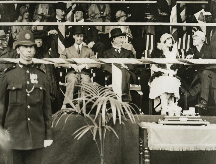 The Duke and Duchess of York watching centenary procession, Darlington.