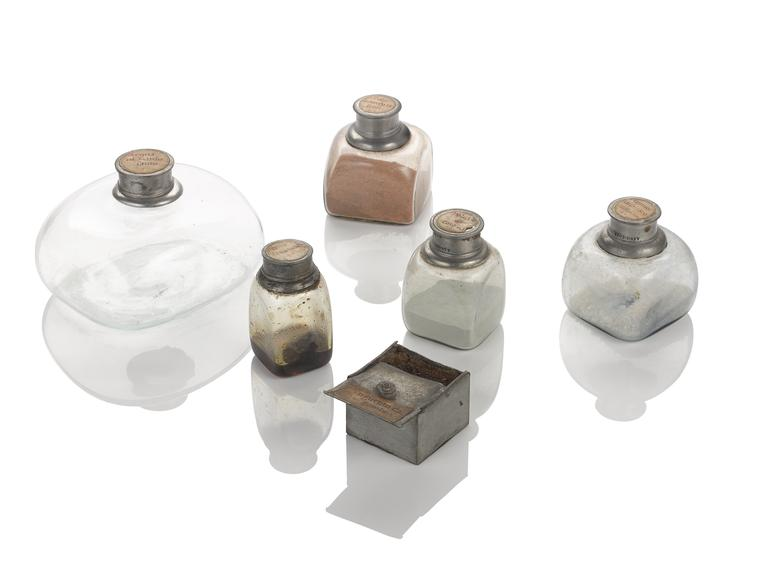 Group of objects from a Genoese medicine chest, 1562-1566. From left to right (and back to front): bottle of acaua di