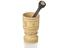 Goblet-shaped ivory mortor decorated with etched black cross-hatched geometric patterns, latitudinal lines and coats of