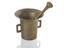 Tall thin brass (?) mortar, with very flaring rim and squared handles, accompanying brass (?) pestle, German (?) 1700
