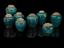 Group of Earthenware drug jars, with parchment lids, with turquoise glaze, Persian. Comprising of (from left to right,