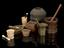 Group of various pestles & mortars showing the variety of materials, ages and origins. Comprising: Stone mortar and