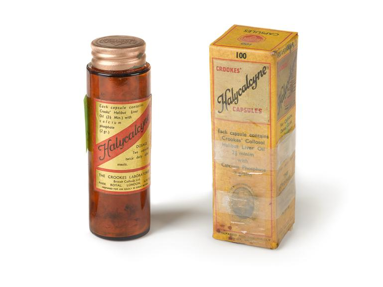 3x100 bottles, (2 in cartons) of Halycalcyne (halibut liver oil and calcium phosphate), by the Crookes Laboratories,