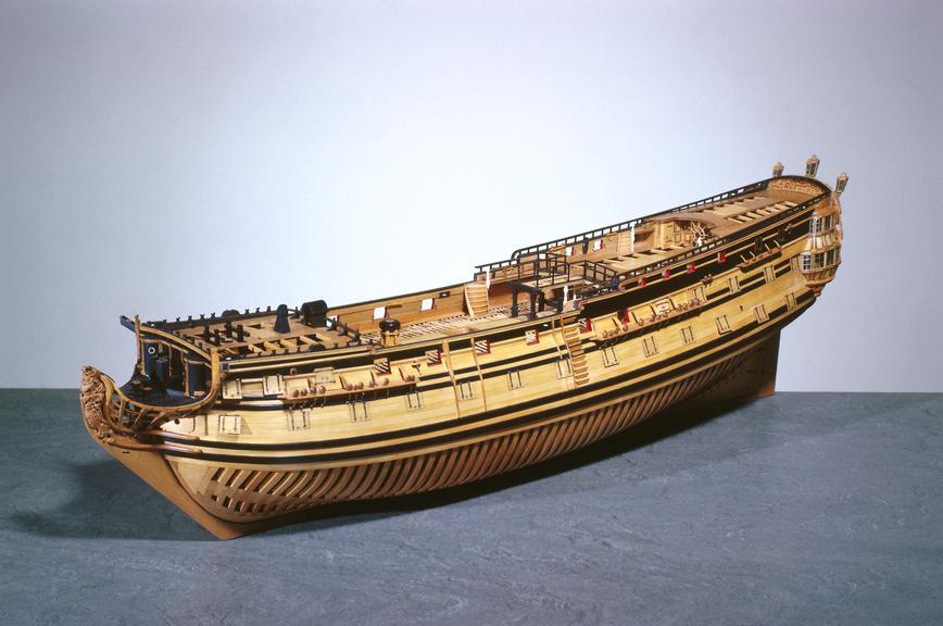 Contemporary model 1:60 scale of  HMS 'Captain' built 1708 to the 1706 Establishment (naval specification), a 70-gun,