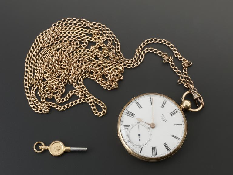 Gold pocket watch, with key and chain, with second hand dial, formerly belonging to Lord Lister, in case, by Simmons,