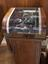 Creed automatic printer, model 2P, No. 280, in pedestal stand complete with motor drive unit.  Front 3/4 detail view of
