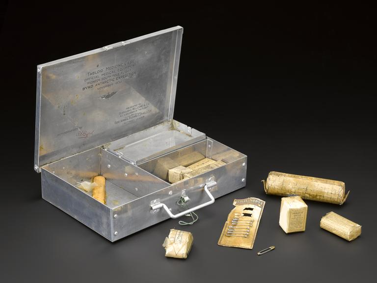 First aid kit in aluminium case in canvas satchel (not pictured), used by Rear Admiral R.E. Byrd on exploration flight