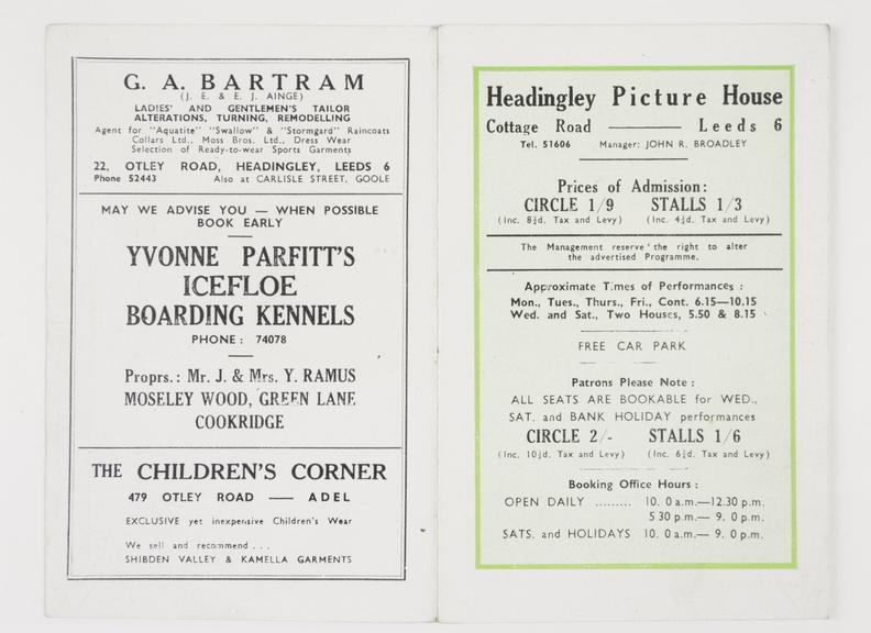 Programme For Cottage Road Cinema Leeds February And March 1951 Science Museum Group Collection