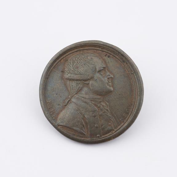 Token, copper, 25mm diameter. Middlesex token (?), late 18th century (?). (Not in DH; Davis & Waters 658).   obverse,