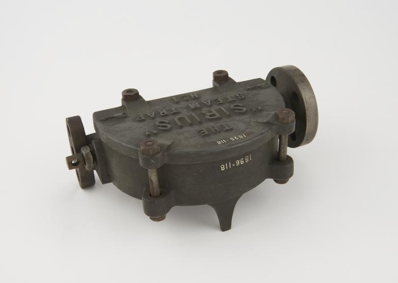 Sirius' steam trap No.1 size, for 5/8' diam. steam pipe, on wooden stand'