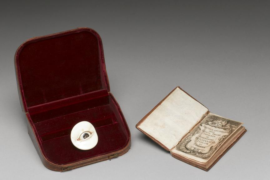Ivory and horn artificial eye, complete with eyelids, by Giovanni Batista Verle of Venice. Book about artificial eye,