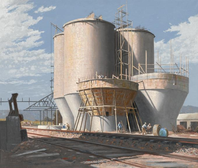 Painting, oil on canvas, Building Water Tanks, by Lyam Bree, 1949.