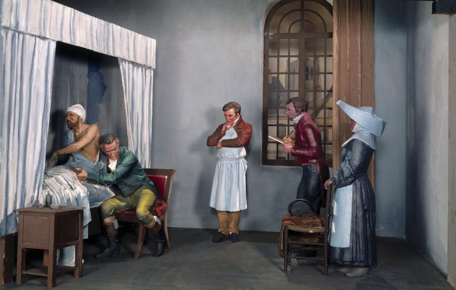 Diorama 'The Rise of Clinical Medicine' showing Rene Laennec examiing a patient at the Hospital Necker in Paris in 1816.
