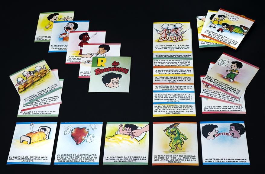 Cards illustrated with coloured cartoons, 29 of 35, from a series concerning various diseases and their prevention by
