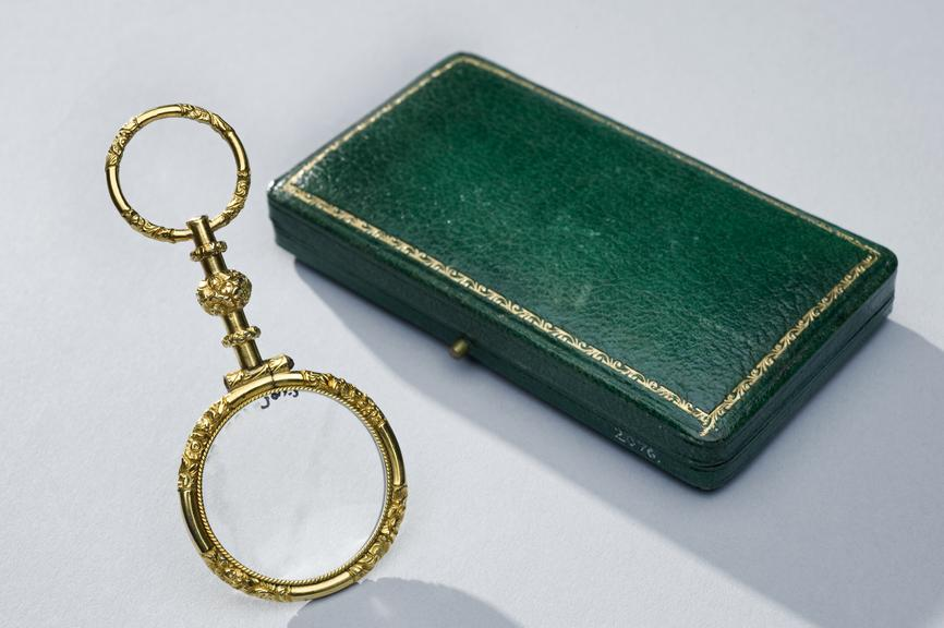 Quizzer spectacles, gold plated, ornately embellished, in snap lid leather case, French, 1800-1820. Full view, object