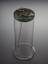 Glass vessel with metal top, tap and slipwire.  Front 3/4 view of whole object against graduated grey background.